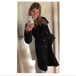 Authentic Burberry wide fit black wool coat sz 6/8